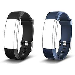 endubro Bracelet Rechange pour ID115 HR Plus | Fitness Tracker Yamay | moreFit Slim HR Plus | HolyHigh YG3 Plus HR | CAMTOA 115 Plus | NAKOSITE RAM2433 | Mpow | HR Plus di KG Physio (Noir + Bleu)