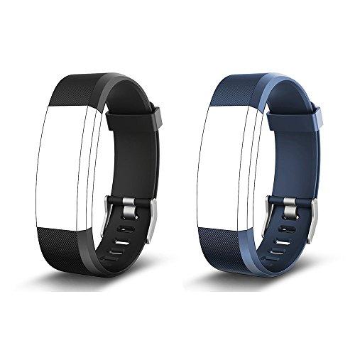 endubro Ersatzarmband für Fitness Tracker ID115 HR Plus & viele weitere Modelle aus hautfreundlichem TPU & nickelfreiem Verschluss (Schwarz + Blau)
