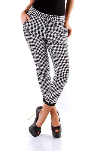 Hahnentritt-hose (OSAB-Fashion 11250 Damen Hose Treggings Chino Business Pepita Pants Slimfit Kordelzug)