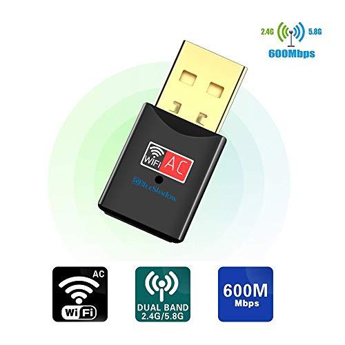 USB WLAN Adapter 600Mbps Dualband 2.4G/5G Mini WLAN Stick Drahtlos Netzwerk Dongle Adapter mit Hochleistungsantenne für Desktop Laptop PC Unterstützung Windows XP Vista/7/8/8.1/10 Mac OS X 10.4-10.12