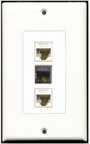 RiteAV–1Port geschirmt, Cat. 6Ethernet 2Port Cat6Ethernet White Decora Wall Plate Decora