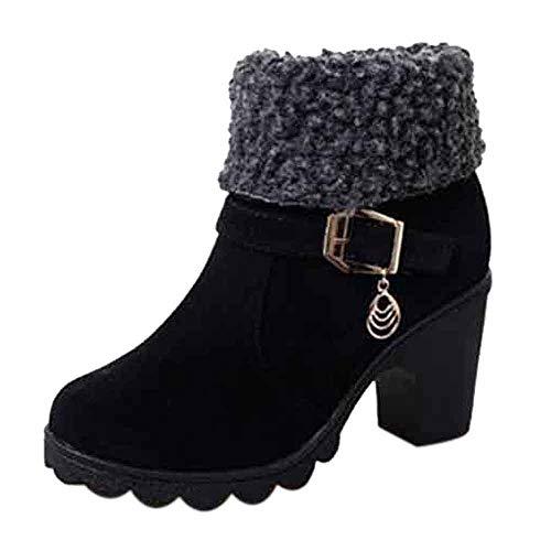 Riou Mode Damen Absätzen Stiefeletten Elegant Rutschfeste Plattform Flock Kurze Ankle Winterstiefel Arbeits Schuhe (40 EU, Schwarz)