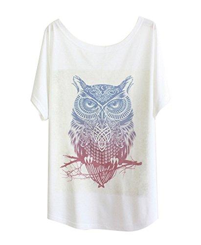 Fledermaus Langarm Baumwolle (Luna et Margarita Damen Weiss Fledermaus-shirt mit Baumwolle und Stoffdruck in der gleichen Gr??en 59cm. witzige Eule)