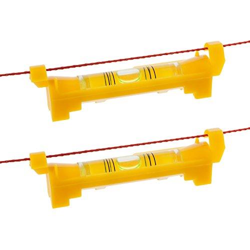 2x Smartfox Schnurwasserwaage Schnur-Wasserwaage Lot Messwaage Prüfwerkzeug für Pflaster Verlege Maurerschnur 75mm in gelb
