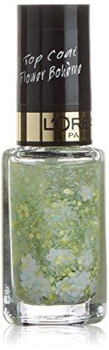 L\'Oréal Paris Color Riche Le Vernis Top Coat Flower Bohème Glitzer / Glänzender Überlack mit Schimmereffekt in Grün / 935 Woodstock Calli / 1 x 5ml
