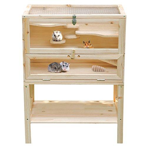 Songmics Cage pour Hamsters souris et gerbilles Cabane Bois Habitats XL - 60 x 40 x 80 cm PHC002