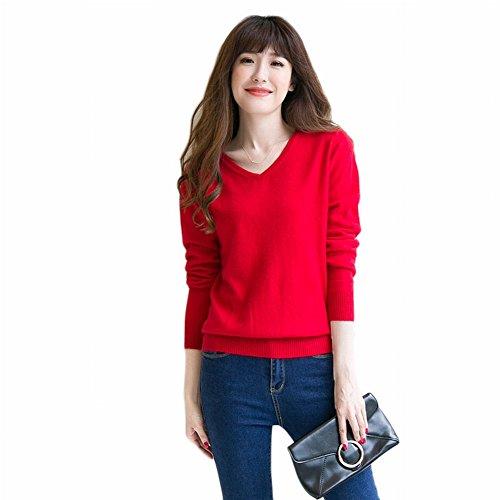 Good dress Kaschmir Pullover Allgleiches Pullover Allgleiches Pullover V-Ausschnitt Reine Farbe Primer Shirt Pullover , rot , 2XL