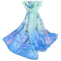 Toamen Womens Scarf Clearance Chiffon Flower Printed Soft Shawl Scarves Wrap Stole (Sky Blue)