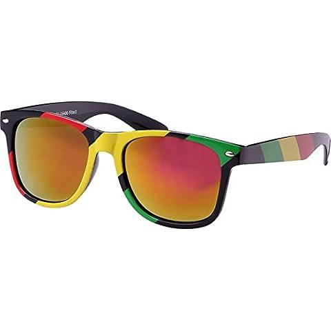 CHIC de Net gafas de sol rojo amarillo verde Rasta rayas Nerd gafas Espejo 400UV Wayfarer, rosa