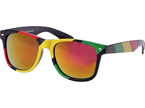 Chic-Net Sonnenbrille rot gelb grün Rasta Streifen Nerdbrille verspiegelt 400 UV Wayfarer pink-gelb