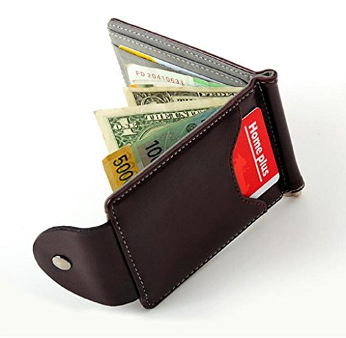 Geldbörsen, Rcool Ultra-dünne Leder-Geld-Clip dünne Mappen ID Kreditkarte Inhaber Geldbörse (Grau) (Dünne Geld-clip)