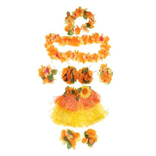 Gazechimp-Set8pcs-Falda-de-Danza-de-Hierba-Hula-Hawaiana-de-Nias-Plusera-y-Collar-con-Flores-Aritificiales-Accesorio-de-Traje-de-Grupo-de-Danza-Naranja-Longitud-30