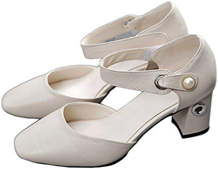 ZXCB Mujeres Bajo Medio Bloque Talón Cabeza Cuadrada Zapatos De Tacón Alto De Cuero Genuino Trabajo Clásico Vestido...
