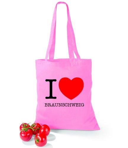 Artdiktat Baumwolltasche I love Braunschweig Classic Pink