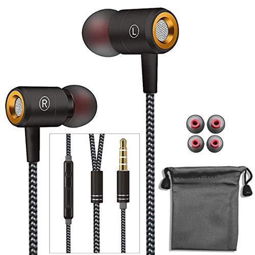 In Ear Kopfhörer,Stereo Ohrhörer mit Mikrofon & Fernsteuerung Kopfhörer Noise Cancelling Bass-Sound für Phone,Pad,Huawei,Android,Smartphones,Kabelgebundenes Headset 3.5mm Klinkenbuchse