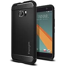 HTC 10 Hülle, Spigen® [Rugged Armor] Elastisch [Schwarz] Ultimative Schutz vor Stürzen und Stößen - [Karbon Look] Schutzhülle für HTC 10 Case, HTC 10 Cover - Black (H09CS20276)
