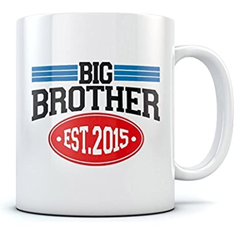 Big Brother Est 2015 Hot Chocolate Mug Family Announcement Newborn Baby Gift Idea - Suprise For Elder Sibling - Gift for Son or Daughter - Baby Shower Great Tea / Choco Cup For Kids Sturdy Ceramic Mug 15 Oz. White by TeeStars
