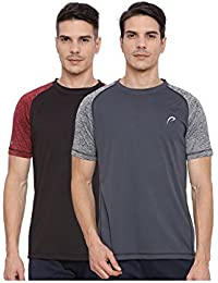 Proline Active Mens Black/Grey Tshirt(PA033BK/DE)-Pack Of Two