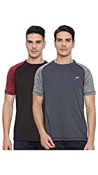 Proline Active Mens Black/Grey Tshirt(PA033BK/DE)-Pack of two