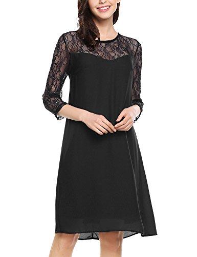 Zeagoo Damen Chiffon Kleid mit Spitzen Elegant Cocktail Party Abendkleid Sommerkleider 3/4 Ärmel A Linie Knielang Schwarz S