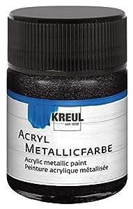 KREUL 77585acrílico metallicfarbe a Base de Agua, Cremig Opaco, Secado rápido y a la luz, 50ML Cristal, Color Negro metálico