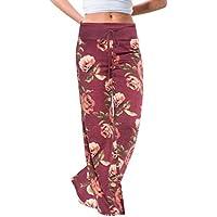 Pantalones Mujer Yoga Anchos Sueltos Ocasionales con Estampado De Mujer Pantalones