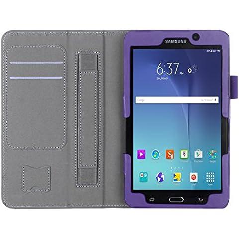 ISIN Funda para Tablet Serie Funda de Premium PU con Stand Función para Samsung Galaxy Tab A 7 de 7,0 pulgadas WIFI SM-T280 LTE SM-T285 Tablet con Velcro Correa para la Mano y Ranuras para Tarjetas (Morado)
