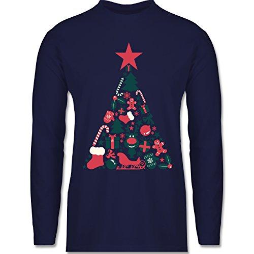 Weihnachten & Silvester - Weihnachtsbaum Collage - Longsleeve / langärmeliges T-Shirt für Herren Navy Blau