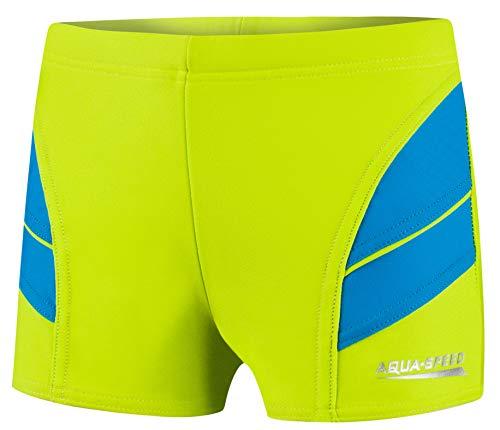 Aqua Speed Andy Jungen Badehose | Schwimmhose | 104-152 cm | Modern UV-Schutz | Chlor resistent | Kordelzug, Farbe:01. Grün/Blau, Größe:122 cm