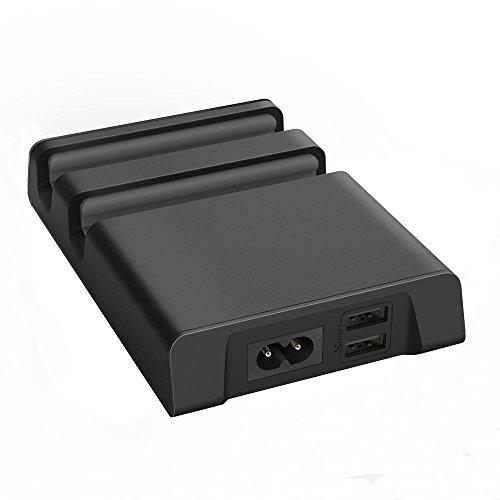 EasyAcc® 4.8A 24W Ladestation Handy Tablet Halterung mit 2-Port USB Anschlüsse und 2 Nuten-Schwarz