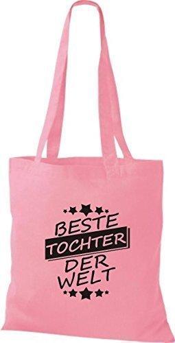 ShirtInStyle Stoffbeutel Baumwolltasche Beste TOCHTER der Welt rosa