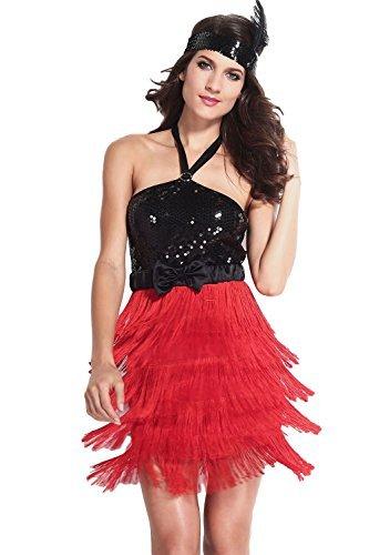 Damen Rote Schwarz Sexy 1920s Flapper Charleston 20er Fransen Mit Quasten Kostüm Kleid Outfit - Rot, (Sexy Flapper Kostüme Schwarz)