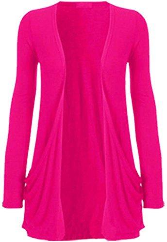 WearAll - Damen langarm Cardigan mit taschen - 17 Farben - Größe 36-50 Kirschrot