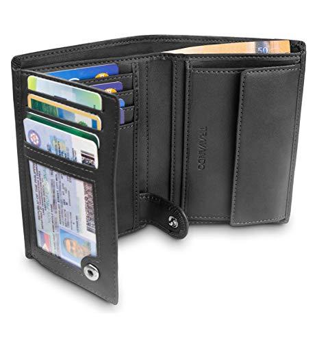 """TRAVANDO ® Portefeuille Homme """"Dublin"""" avec Blocage RFID - Porte-Monnaie Noir Classique, Porte-Cartes Format Portrait - Rangement pour Pièces, Carte de Crédit, Billets, CB"""