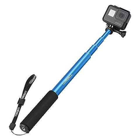 Luxebell® Perche de Selfie Monopode extensible pour Gopro Hero 2 Hero 3 Hero 4 Session / Sony Action Cam / Canon / Nikon / Sony / Panasonic / Olympus Camera SJ4000 SJ5000 - Bleu