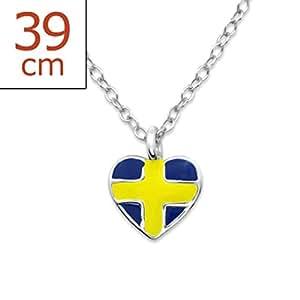 EURO 2016-Halsketten mit Schweden-Flaggen-Entwurf Sterling Silber Fussball