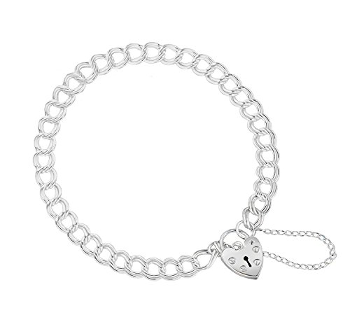 """Tuscany Silver Sterling Silver Double Panza Heart Padlock Charm Bracelet of 18cm/7"""""""