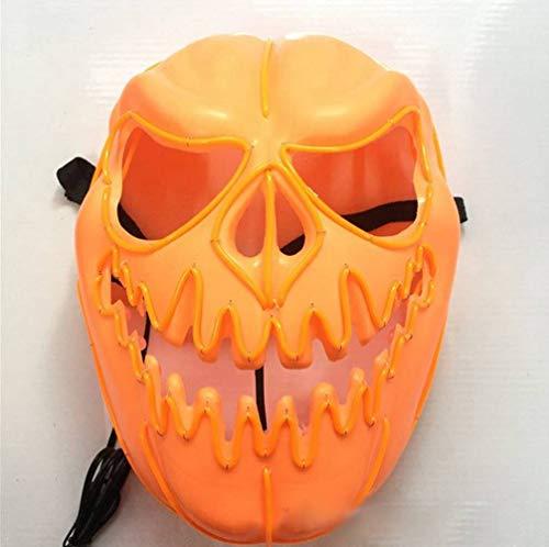 LYSL Glühende Maske, kaltes Licht Maske Halloween Maske Kinder Halloween Kürbis Kopf Form LED Glühende Maske beängstigend