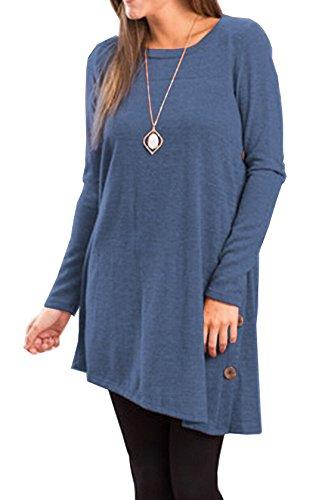 Femme Casual Tunique Style Tops Mini Robe Dress Longues Manches Basique Lrrégulier Robe T-Shirt Plissée-Robe Bleu