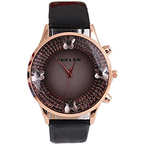 Vovotrade Mariposa Reloj Análogo Del Diamante (Negro)