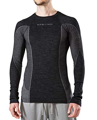 Merino & More Herren Skiunterwäsche lang - Premium Funktionsunterwäsche aus Merinowolle - Sport - Skiunterhemd - Langarm schwarz-grau Gr. L