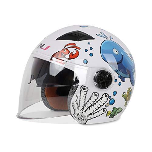 NJ Helm- Kinderhelm, vier Jahreszeiten Doppelobjektiv Cartoon niedlichen elektrischen Motorradhelm, ultraleichte Kinder Schutzhelm (Color : White, Size : (Kunststoff Schutzhelm Für Kinder)