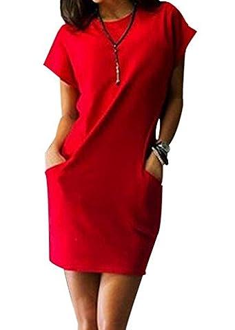 Reizvolle Minikleid Damen Rundkragen Kurzarm Etuikleider einfarbig Blusenkleider Schrittrock Bleistiftrock Freizeitkleid Wickelkleider (EU36-S,