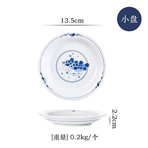 YUWANW Japan Ist Die Einfuhr von Keramikgeschirr Porzellanschale Kreative Home-Plate und Wind Kalt Teller Teller Teller Teller Japanische Schüssel mit Knödel, Puffer Small-Cap-Da3 (Te-puffer)