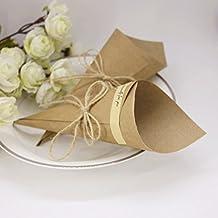 50 cartulinas de papel kraft natural, ideal para bricolaje de conos para fiesta de bodas, cuerda de cáñamo, cinta de doble cara, etiqueta de cierre