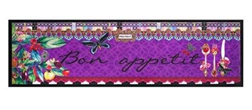 Küchenläufer Läufer Teppich Größe 50x150 cm - modern - Motiv Kitchen , Bon Appetit farbenfroh lila multi colour Design Teppiche - Kitchen Deko - Flur - Esszimmer (Bon Appetit) -