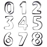 Set da 9 Grandi Tagliabiscotti in Metallo a Forma di Numero da Kurtzy - Numeri in Acciaio Inossidabile da 0 a 9. Forme Perfette per Cottura Torte Decorazione Glassa e Pasta di Zucchero