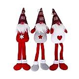 BESTOYARD 3 unids Santa Claus Muñeca Pierna Larga Decoración de Navidad Figuras de Papá Noel Adorno Decoración de Navidad