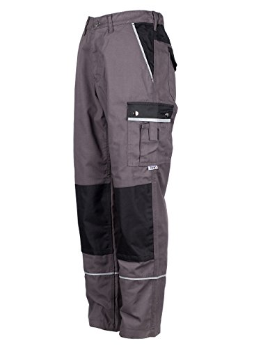 TMG® - Herren Bundhose/Cargohose mit Kniepolstertaschen - strapazierfähig - Grau