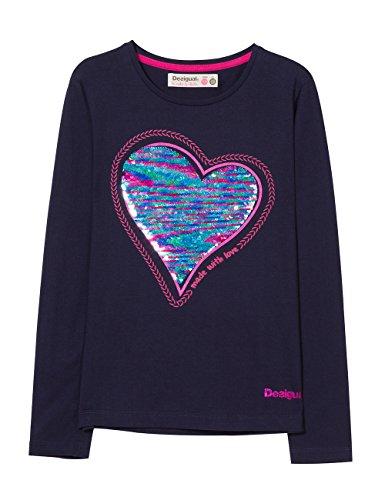 Desigual Mädchen TS_Sequins T-Shirt, Blau (Navy 5000), 140 (Herstellergröße: 9/10)